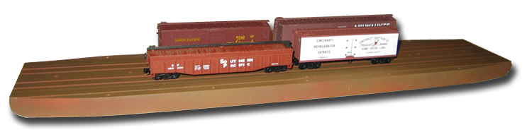 N-Barge 14K - KATO Street Track installed, painted with 4 freight cars on board.