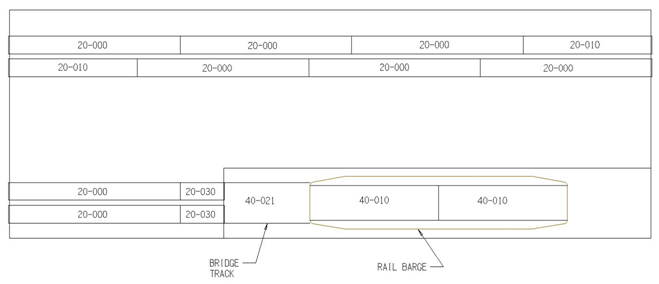 Track Layout for N T-trak Triple Barge Pocket RH