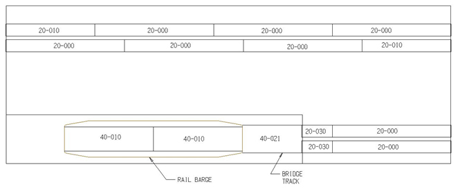 Track Layout for N T-trak Triple Barge Pocket LH