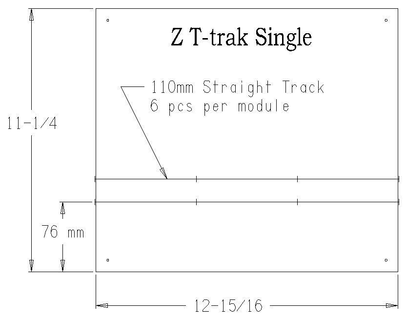 Double Wide Z Scale T-trak dimensions
